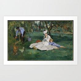 Edouard Manet - The Monet Family in Their Garden at Argenteuil Art Print
