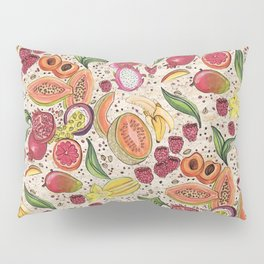 Ready to Eat - Fruit Pattern in White Pillow Sham