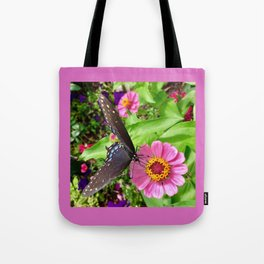 Butterfly on Zinnia with Border Tote Bag