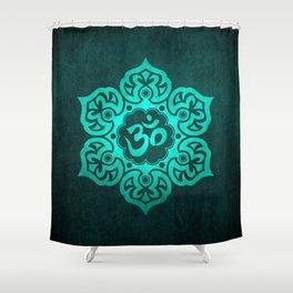 Vintage Scratched Teal Blue Lotus Flower Yoga Om Shower Curtain