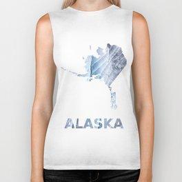 Alaska map outline Light steel blue clouded wash drawing Biker Tank