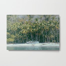 Abandoned boat on desert island Metal Print