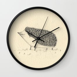 Monochrome Hedgehog Wall Clock