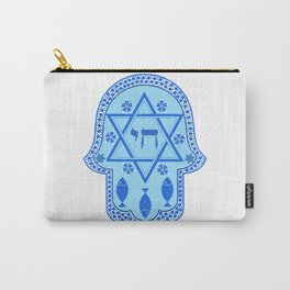 Hamsa for blessings - david shield - blue Carry-All Pouch