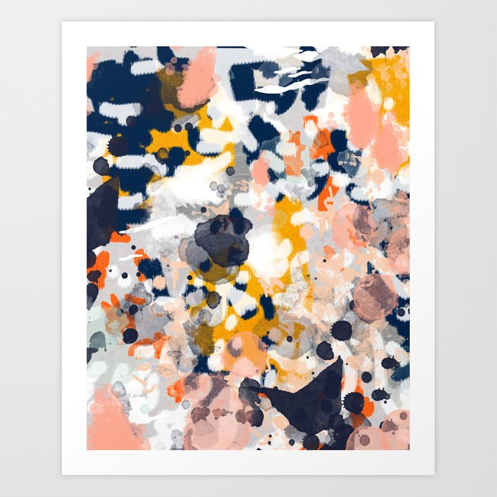 Stella Ii Abstract Painting In Modern Fresh Colors Navy Orange Pink Cream White And Gold Art Print By Charlottewinter