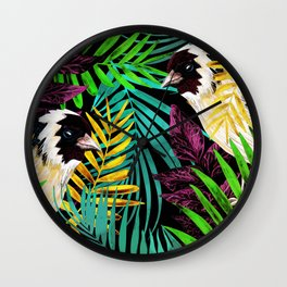 Tropical birds and green leaves Wall Clock