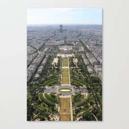 Aerial view of The Champ de Mars from the Eiffel Tower Canvas Print