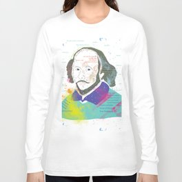 Portrait of William Shakespeare-Hand drawn Long Sleeve T-shirt