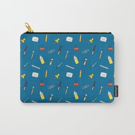 Happy office stationery in blue background Carry-All Pouch