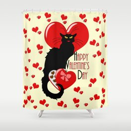 Le Chat Noir with Chocolate Candy Gift Shower Curtain
