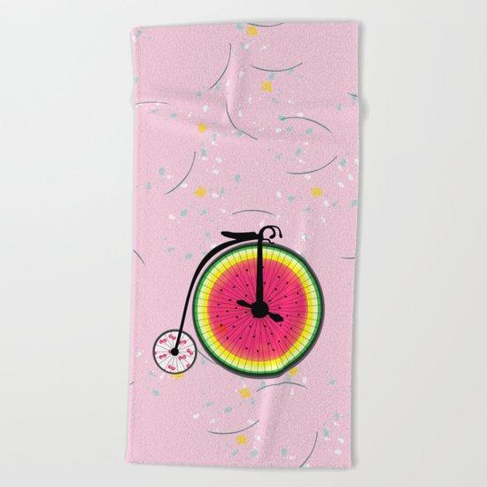 Vintage Bicycle Fruits Wheels Design Beach Towel