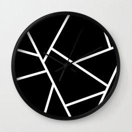Black and White Fragments - Geometric Design II Wall Clock
