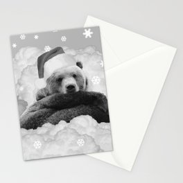 Brown Bear Santa Claus Winter Clouds Black & White Stationery Cards