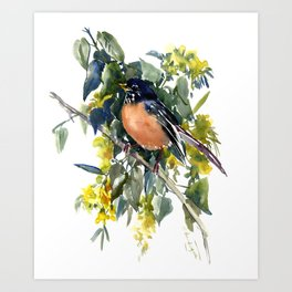 American Robin on Linden Tree, Deep blue Cottage Woodland style design Art Print