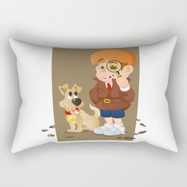 Smart young cartoon detective boy and his dog Rectangular Pillow
