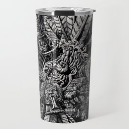 Aztec Great Lizard Warrior 1 (Triceratops) Travel Mug
