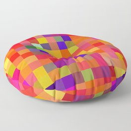geometric square pixel pattern abstract in red pink yellow blue Floor Pillow