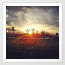 Highway Sunset Art Print