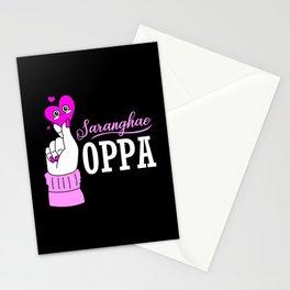 Kdrama Oppa Korean Saranghae Korea Finger Heart Stationery Cards