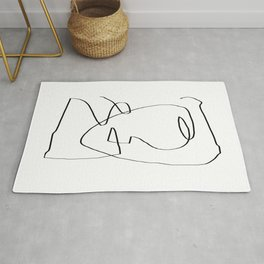 Abstract head, Minimalist Line Art Rug