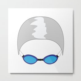 Swim Cap and Goggles Metal Print