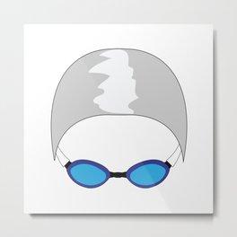 Swim Cap and Goggles Metal Print