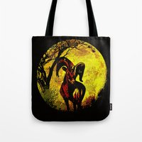 ram Tote Bags featuring Ram by Saundra Myles