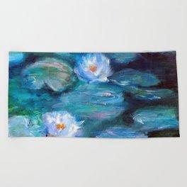 Blue Water Lilies Beach Towel
