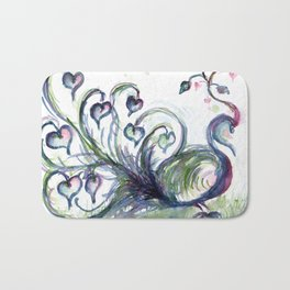 Peacock Pink Hearts watercolour by CheyAnne Sexton Bath Mat