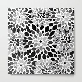 Black and White Burst Metal Print