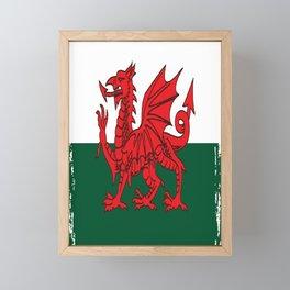Y Ddraig Goch Grunge Welsh Flag Framed Mini Art Print
