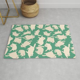 White Cats Pattern Rug
