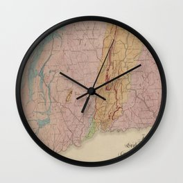 Vintage Geological Map of Connecticut (1842) Wall Clock
