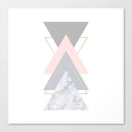 Blush Marble Gray Gold Geometric Pattern Canvas Print