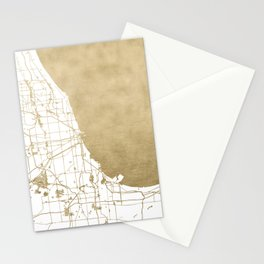 Chicago Gold and White Map Stationery Cards