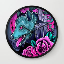 Wolf Candles Wall Clock