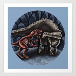 Allosaurus and Diplodocus Art Print