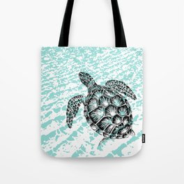 Sea turtle print in black and white Tote Bag