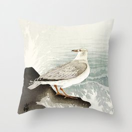 Seagulls at the beach - Vintage Japanese woodblock print Art Throw Pillow