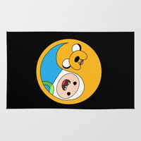 finn and jake Area & Throw Rugs featuring Finn & Jake Yin Yang by bitobots