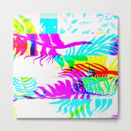 Glitch botany palm leaves set and summer jungle watercolor palm. Metal Print