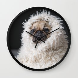 Dog with blanket Wall Clock