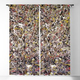 Intergalactic - Jackson Pollock style abstract painting by Rasko Blackout Curtain