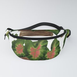 Potted Big Green Pink Leaves Fanny Pack