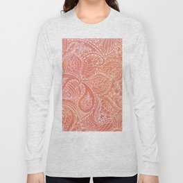 Lacey Pattern on Coral Long Sleeve T-shirt