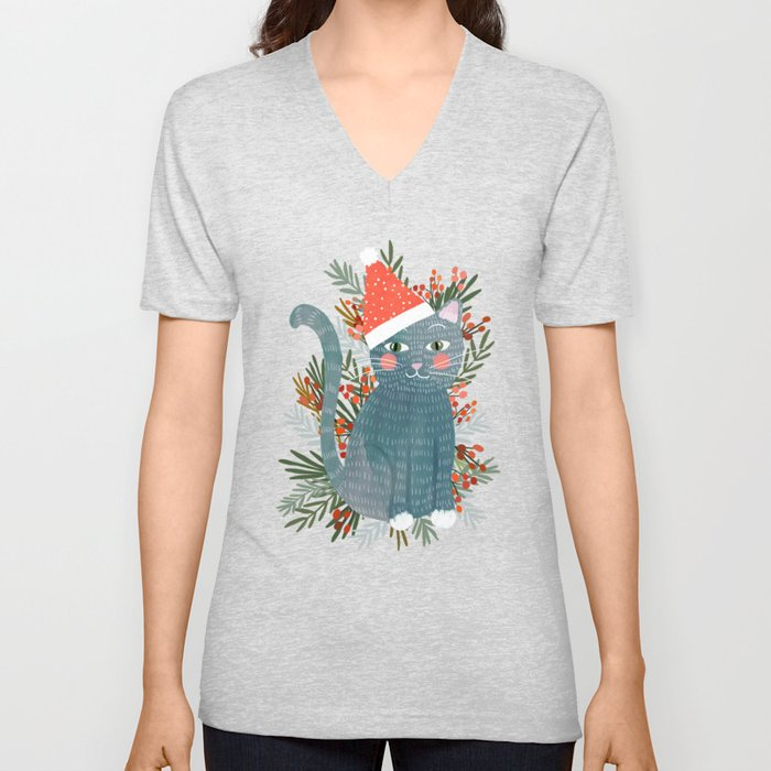 Blue Cat cute christmas xmas tree holiday funny cat art cat lady gift unique pet gifts Unisex V-Neck