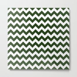 Large Dark Forest Green and White Chevron Stripe Pattern Metal Print