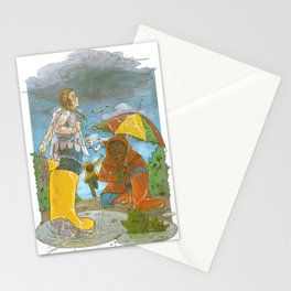 Kids in the Rain Stationery Cards