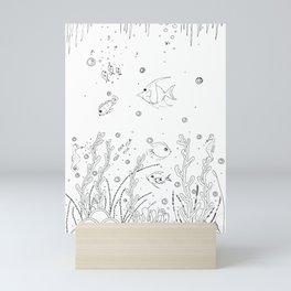 Sea Life Ink Art Illustration Mini Art Print