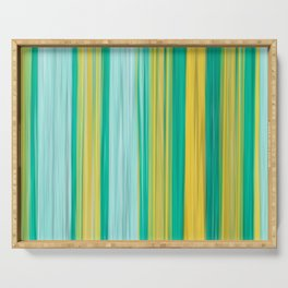 turquoise green yellow abstract striped pattern Serving Tray